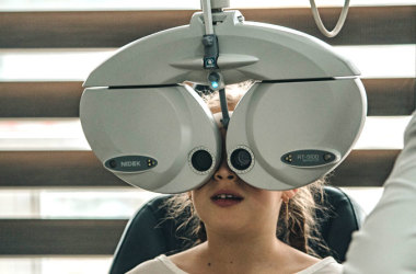 Girl having an eye exam