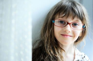 Myopic girl wearing glasses