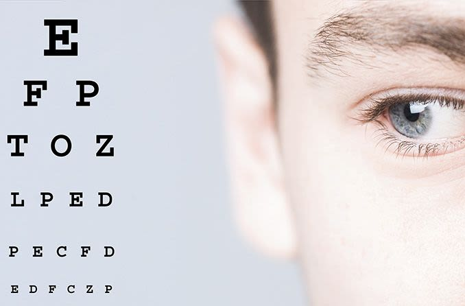 closeup of a man's eye looking at an eye chart from the side