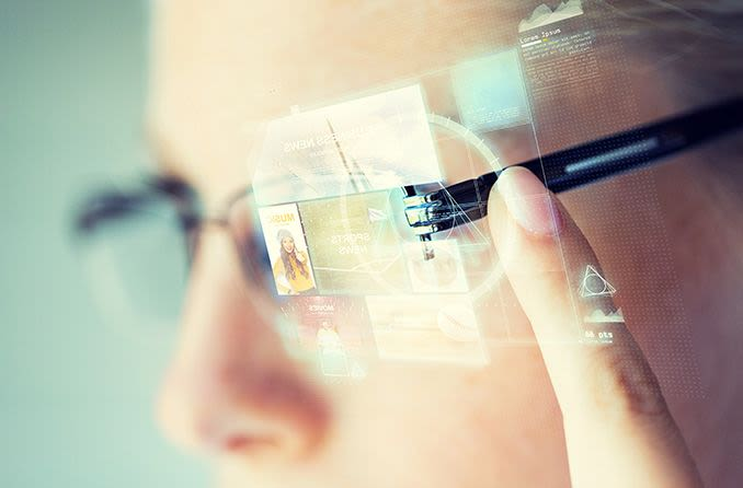 Close up of smart glasses technology