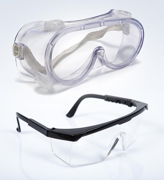 Safety glasses and protective eyewear