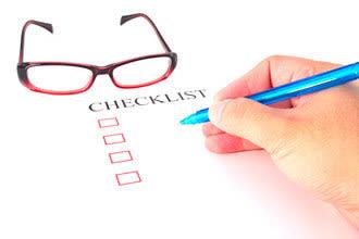 liste de contrôle de monture de lunettes