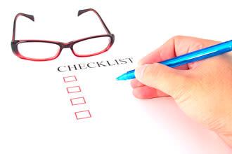 lista de verificação de armação de óculos