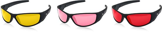 Yellow, pink and red sunglasses