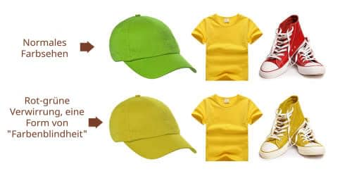 Normales Farbsehen und rot-grüne Verwirrung, eine Form von Farbenblindheit