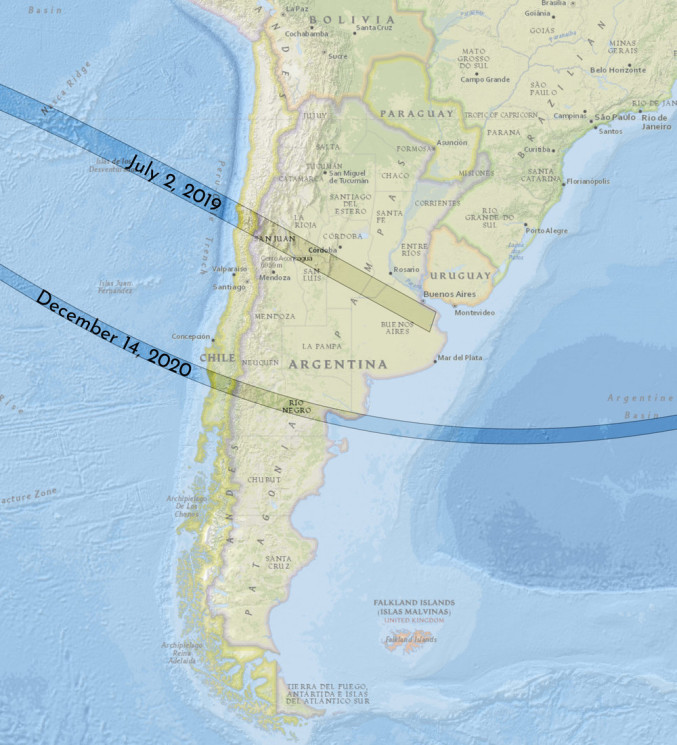 Map of South America solar eclipse 2019 and 2020