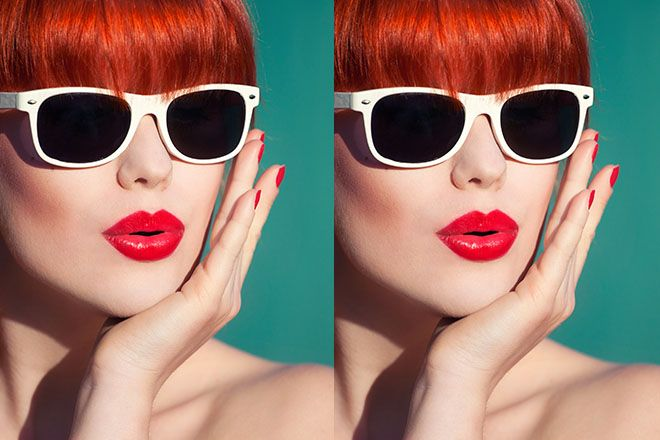Woman wearing white framed wayfarer sunglasses and red lipstick on a teal background