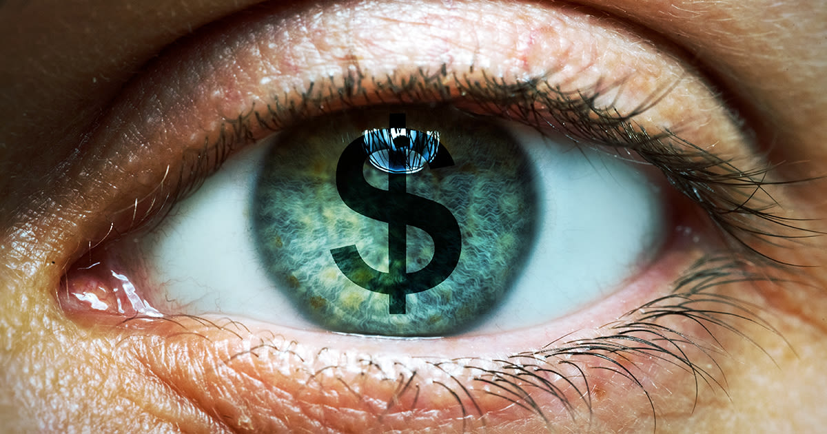 money sign on surface of eye