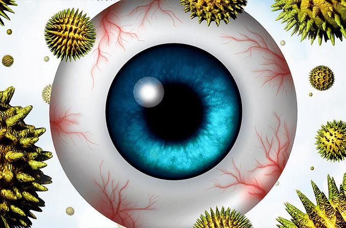 Ilustración del globo ocular con polen flotando