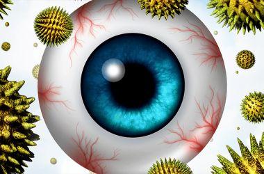 Darstellung des Augapfels mit herumschwebenden Pollen