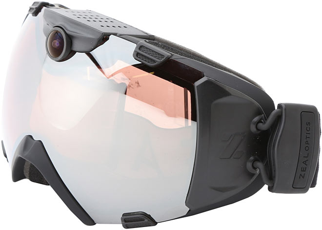 Black ski goggles with camera