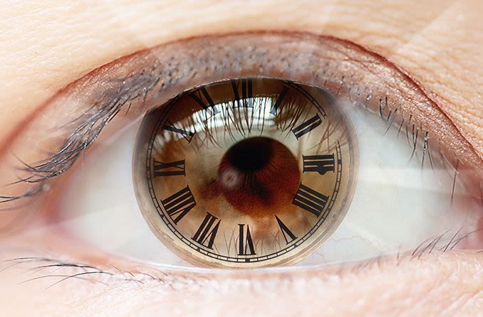 closeup of eye with roman numerals clock.