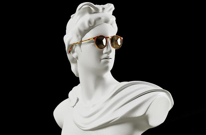 Greek statue wearing sunglasses