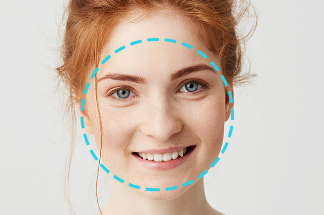 Woman with round shaped cutout overlay