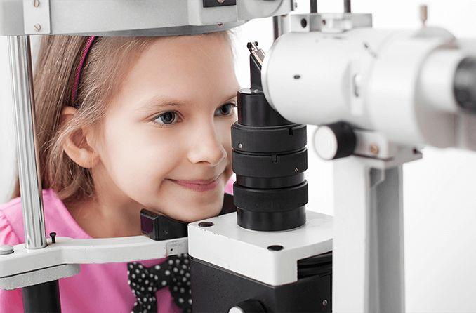 girl having a free eye exam