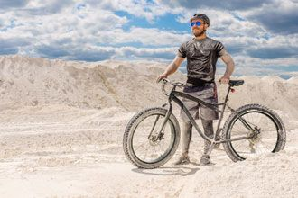 Bicyclist in the sand