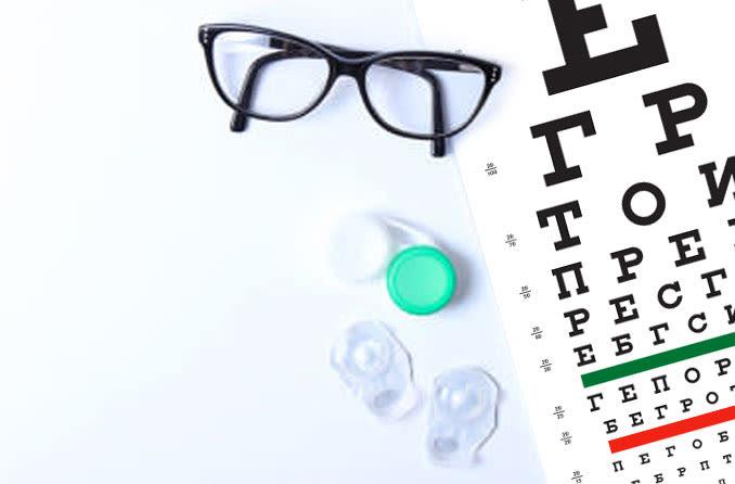 Контакты и очки на глазной карте