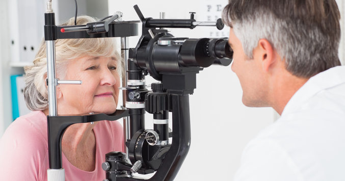 older woman during an eye exam