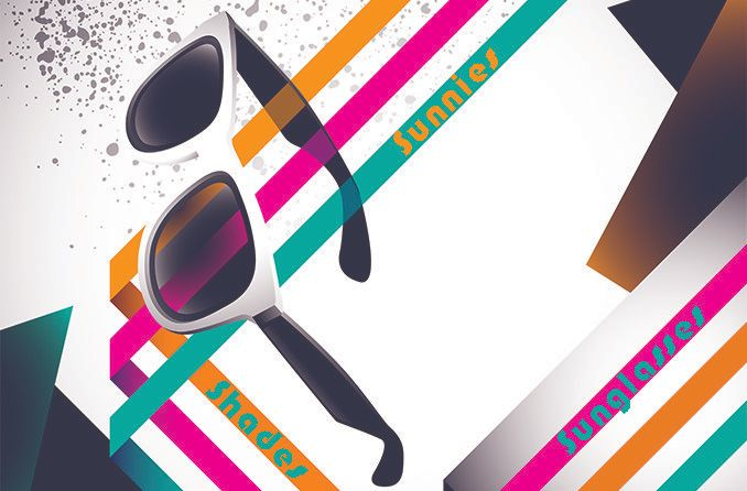 sunglasses with retro graphic background