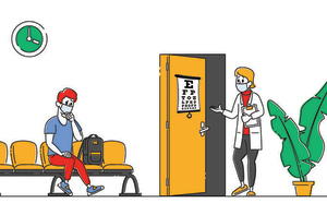 illustration of eye doctor waiting room with doctor and patient wearing face masks