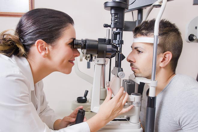 Slit lamp eye exam