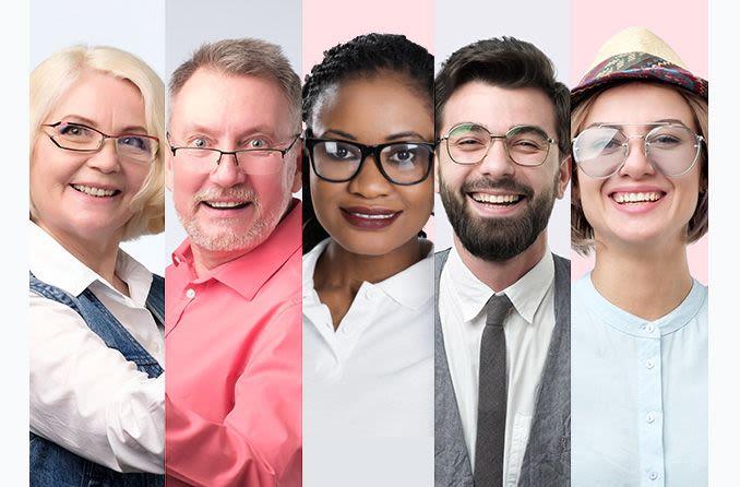 multiple age groups wearing eyeglasses