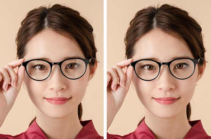 带和不带防反射镜片涂层的眼镜