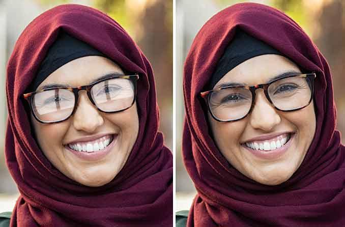 نظارات مع أو بدون طلاء العدسة المضادة للانعكاس