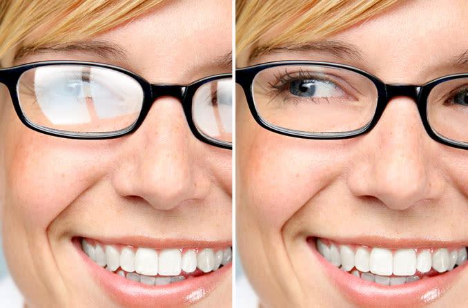 óculos com e sem revestimento de lente anti-reflexo