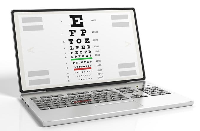 eye test on laptop computer screen