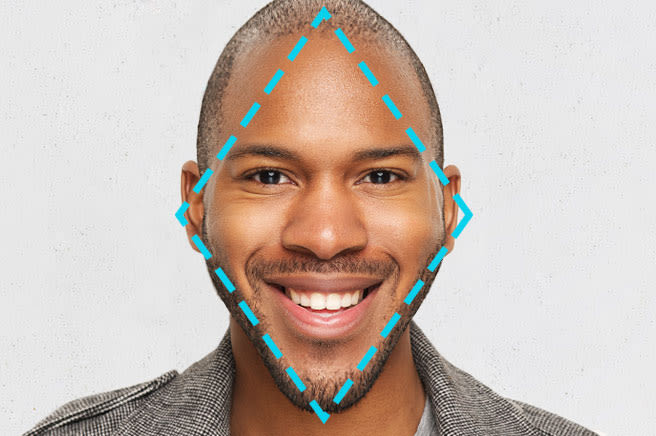 African american male with a diamond shaped face