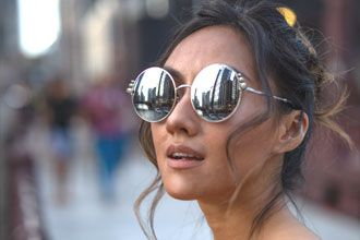 Woman Wearing Pearl Sunglasses