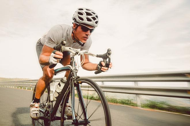cyclist wearing sport sunglasses