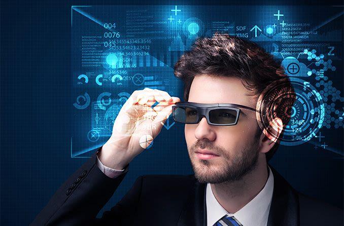 man wearing smart technology sunglasses