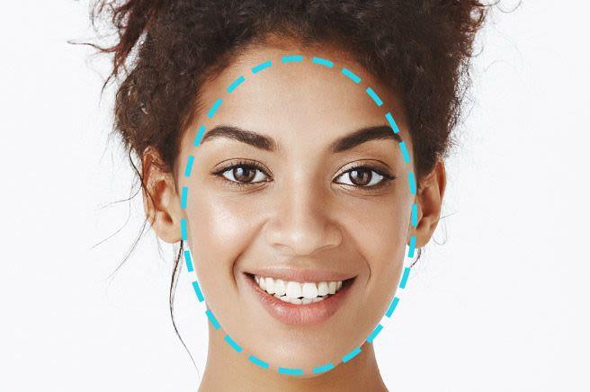 Woman with an oval face shape cutout overlay
