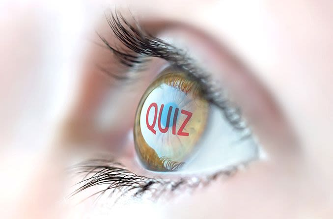 closeup of an eyeball with the word quiz reflected off