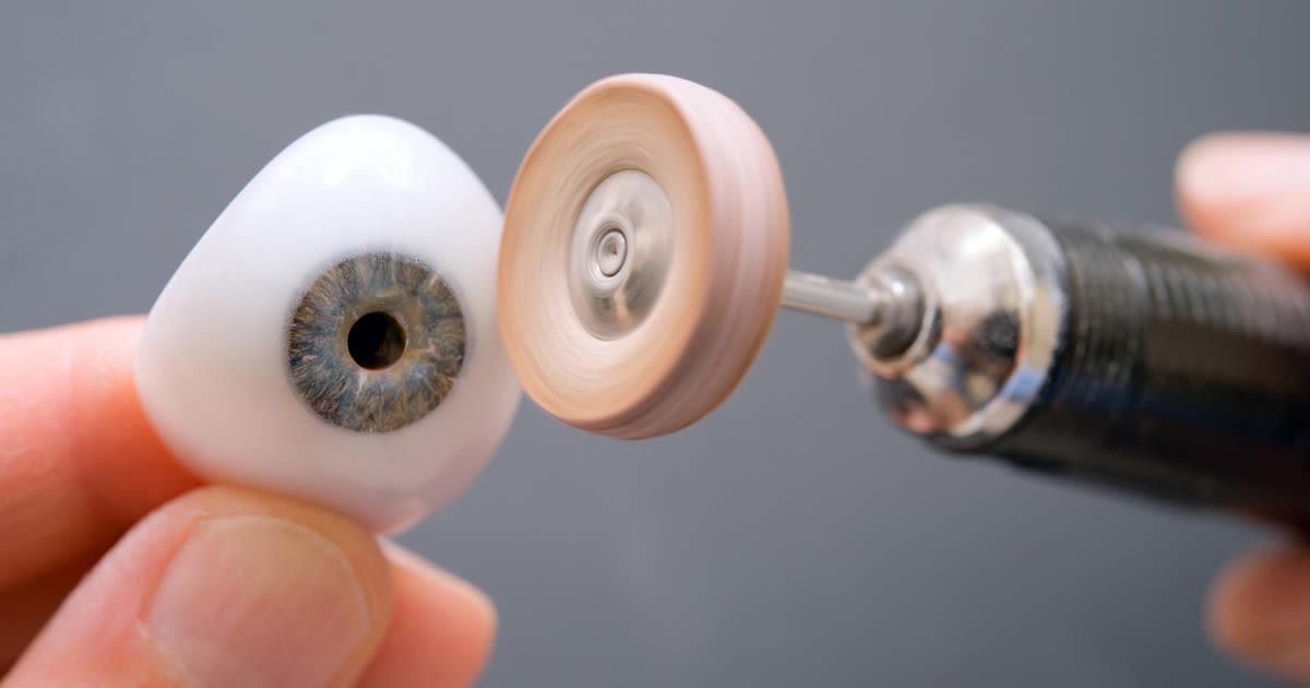 Polishing glass eye