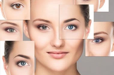 Frau mit verschiedenen Arten von farbigen Kontaktlinsen