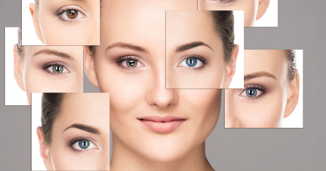 photo montage of woman wearing different color contact lenses