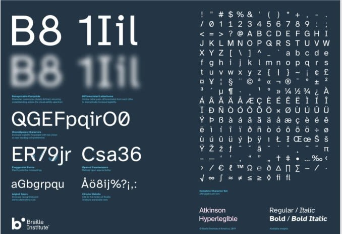 This is an image showing a new Braille Institute typeface for those with low vision.