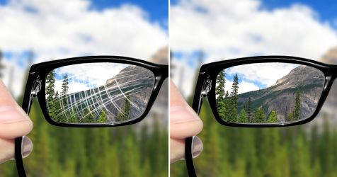 side-by-side of scratched and unscratched eyeglass lenses