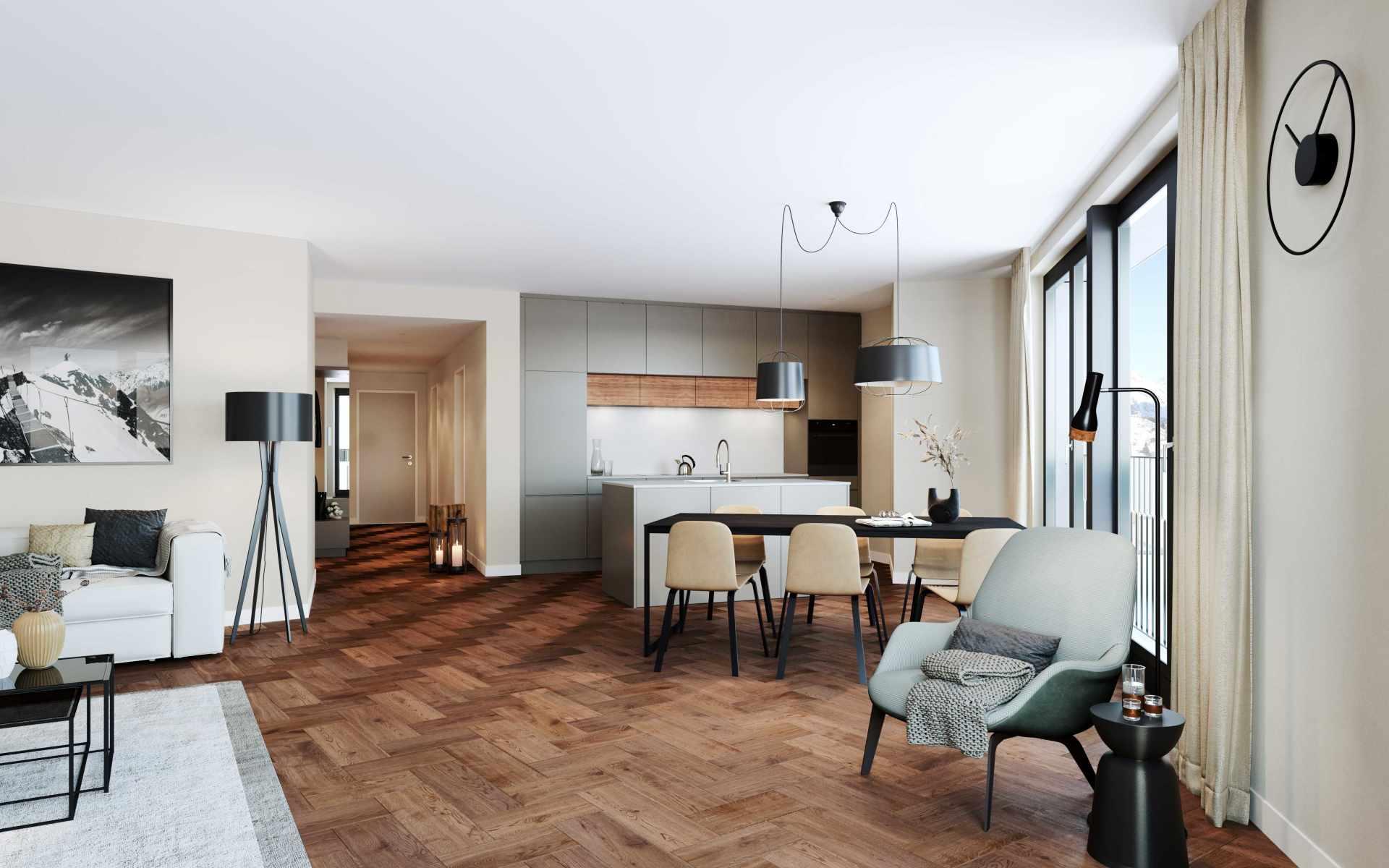 Enzian Wohnzimmer mit Küche