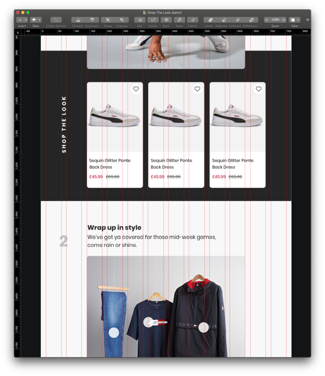 "Screen shot taken from sketch of a ""Shop The Look"" app layout for tablet, the Column Grid layout overlay is visible."