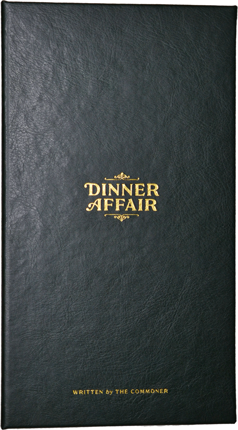 The Commoner Bar Room dinner affair menu made of faux leather and has lettering debased into the cover.