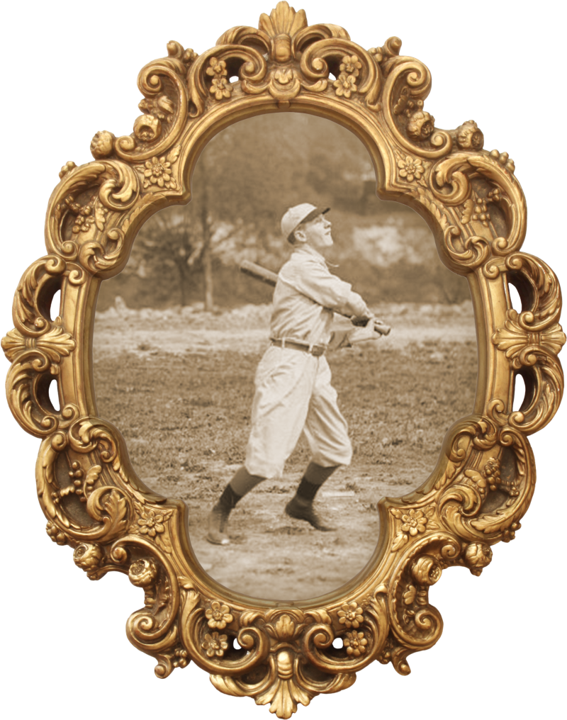 The centre item for The Commoner Roncy which represents the nostalgic feel of the restaurant using a victorian-style picture frame and a baseball player hitting the opening pitch sourced from the Toronto Photo Archives. s0372_ss0052_it0510