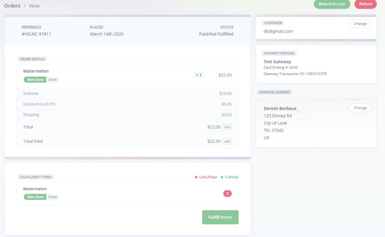 Order in Chec Dashboard
