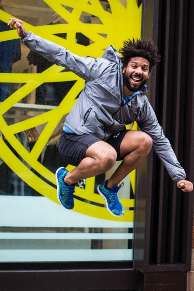 Kellen Townsend  Jumping in front of Soulcycle