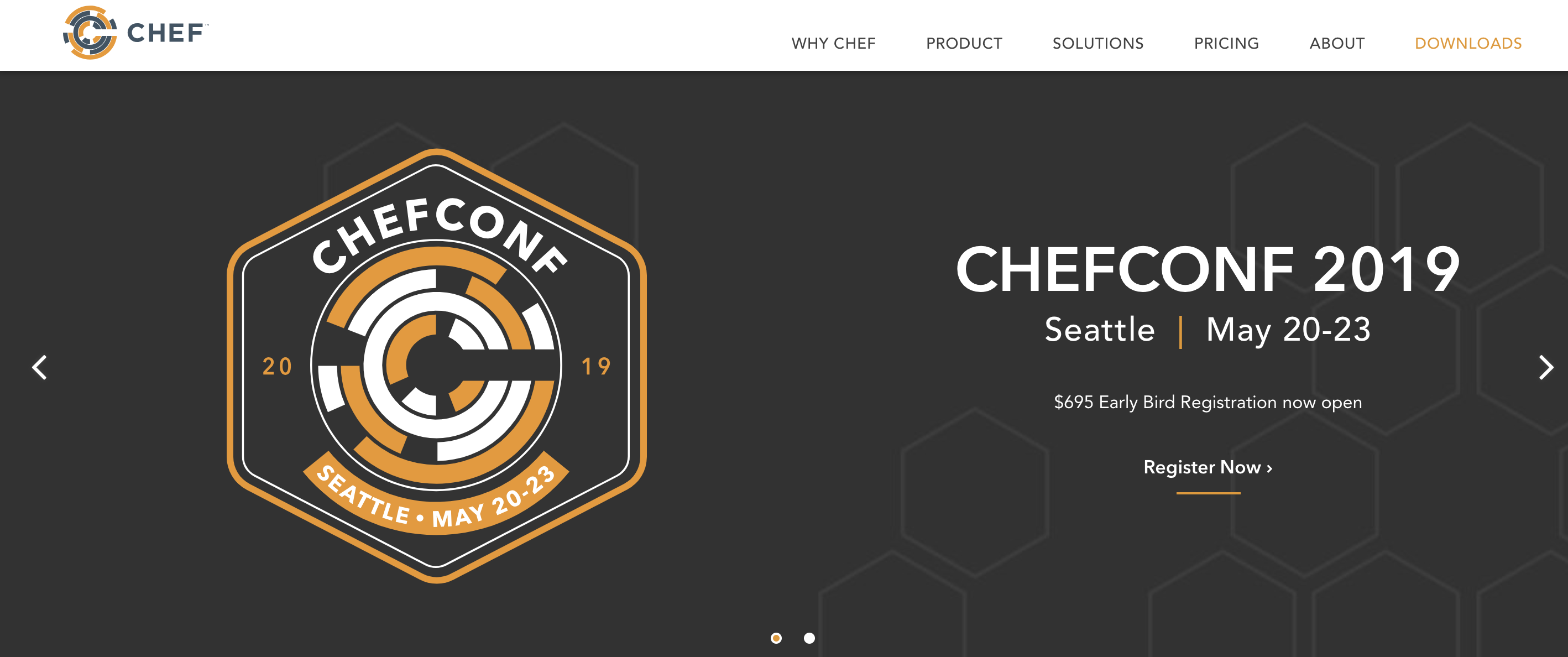 Chef Homepage Screenshot