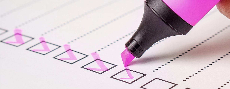 Checklist screenshot for unit testing blog