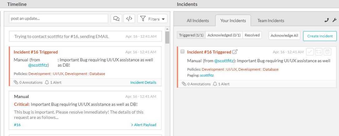 Figure 7 Successful Incident Creation in VictorOps